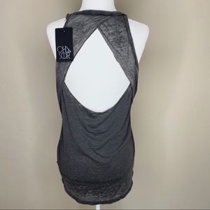 Chaser Burnout Tank Open Back Charcoal Grey M NWT